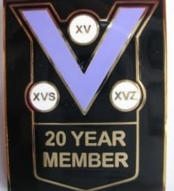 20 year member pin badge