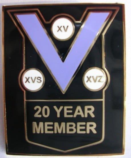 20 year member pin badge